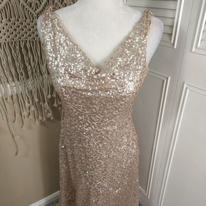 Dressy Group gold sequin maxi gown dress sz 8